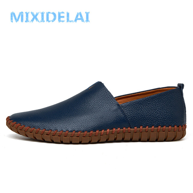 MIXIDELAI Genuine Cow leather Mens Loafers Fashion Handmade Moccasins Soft Leather Blue Slip On Men's Boat Shoe PLUS SIZE 38~48 4