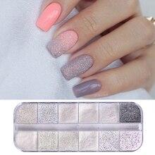 12 Colors Dazzling Sandy Gradient Nail Glitter Dust Mermaid Effect AB Color Sugar Pigment Fine Powder Art Decoration