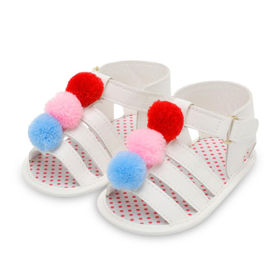shaunyging # 5001 Infant Baby Girls Ball Strap Crib Shoes Soft Sole Anti-slip Single Shoes Sandals