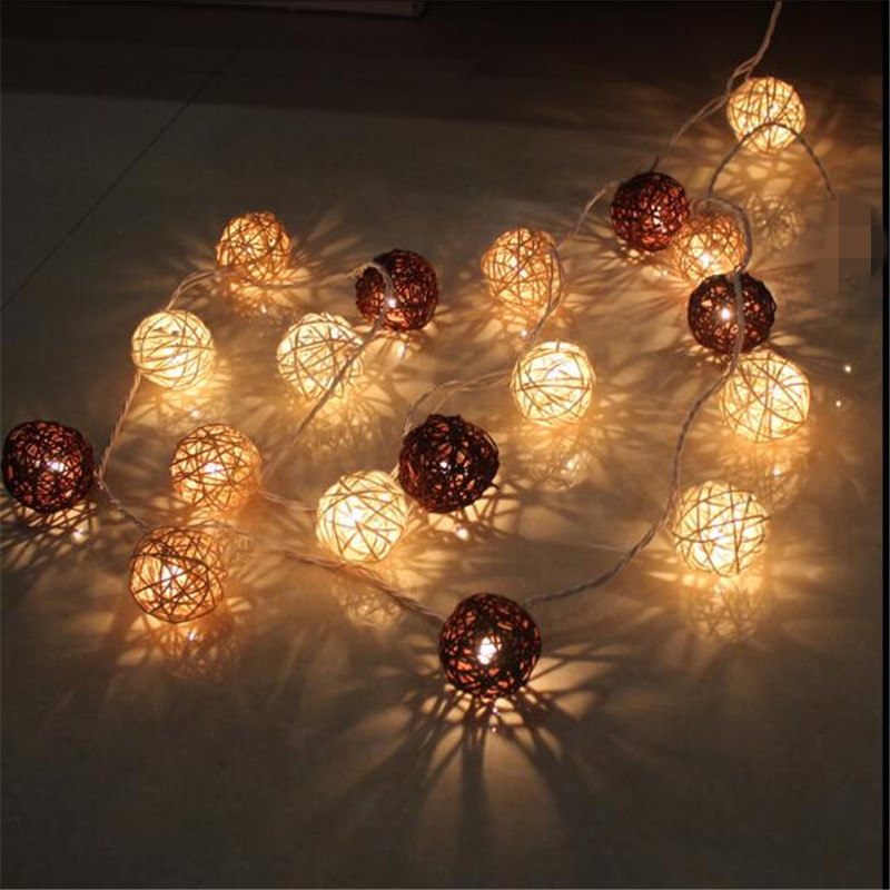 1.5M 10LEDs White Brown Rattan Ball LED String Lighting Holiday Christmas Wedding Party Curtain Decoration Lights Drop