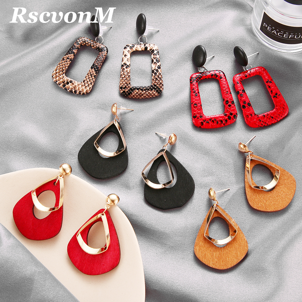 Trendy Party Jewelry Vintage Women's Fashion Statement Earring Red Brown Black Color Long Wooden Brincos Wedding Gift
