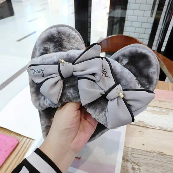 13cd8b8c5590 placeholder fashion bowtie winter slippers with feathers women luxury  design fur slides girls pink fur flip flops