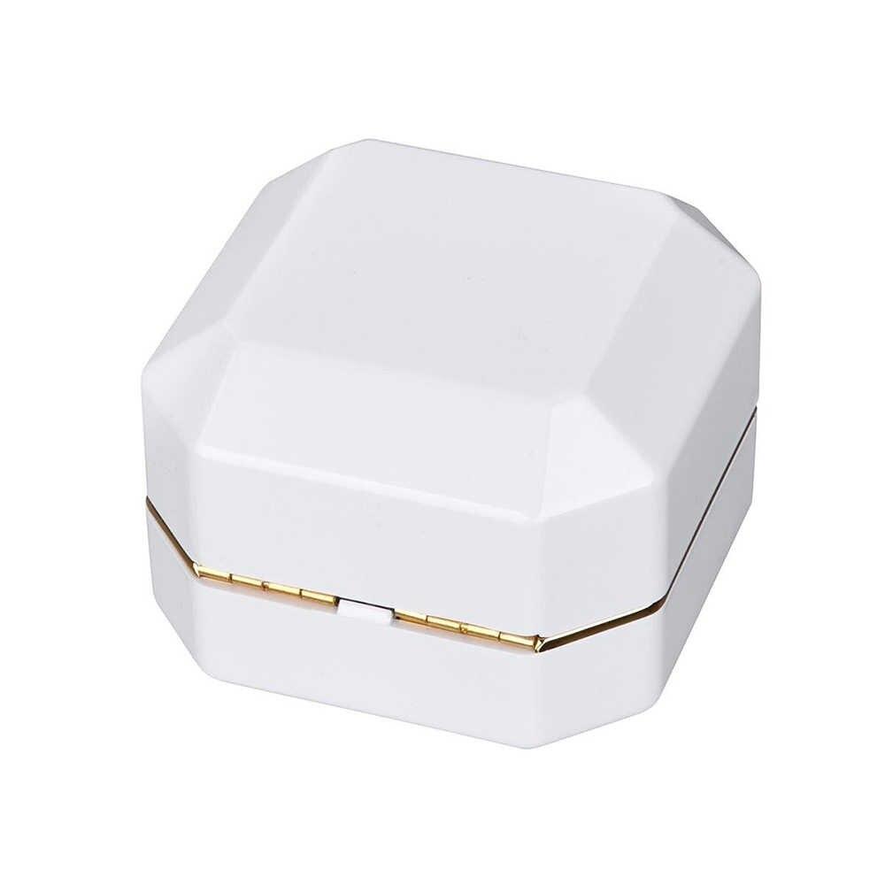 Wanita Mewah Menyala Cincin Kotak Cat Bermutu Tinggi Lampu LED Beludru Perhiasan Hadiah Kotak Pernikahan Pemegang Cincin