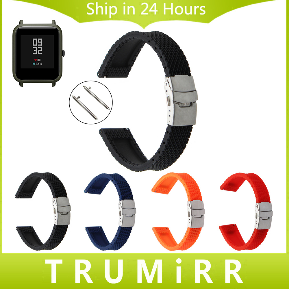 20mm Silicone Rubber Watchband Quick Release for Xiaomi Huami Amazfit Bip BIT PACE Lite Youth Watch Band Steel Clasp Wrist Strap xiaomi huami smart watch amazfit bip [english version] sports watch pace lite bluetooth 4 0 gps heart rate 45 days battery ip68
