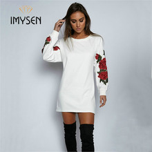IMYSEN 2017 New Autumn Winter Sweatshirts Solid Casual Hoodies Flower Embroidery O-Neck Cotton Female Long Sleeve Sweatshirts