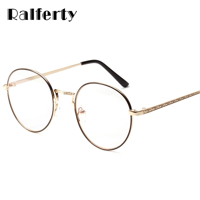 37d3ba4f3d4a Ralferty Vintage Round Glasses Frame Women Men Gold Black Metal Eyeglasses  Retro Optical Frames Female Clear Lens Oculos 3216