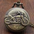 Bronze Motorcycle Motorbike MOTO Pocket Watch Necklace Pendant Mens Gift P79