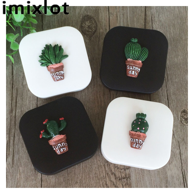 Men's Glasses Cute Fashion Random Cactus Pattern Travel Glasses Contact Lenses Box Contact Lens Case For Eyes Care Kit Holder Container Apparel Accessories