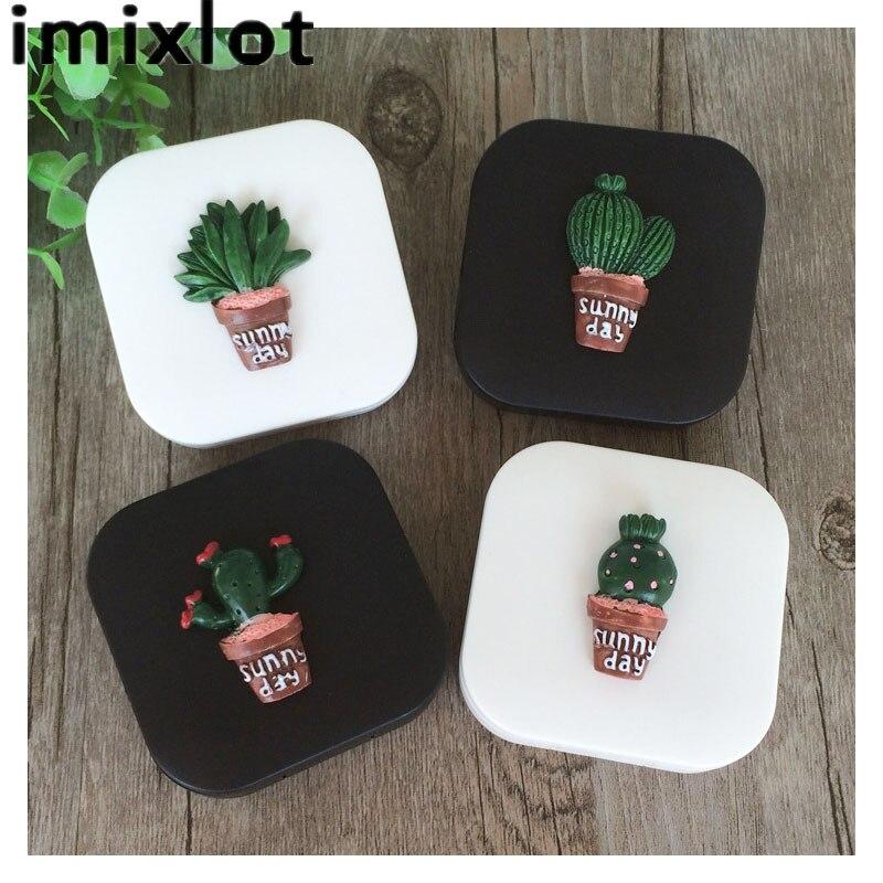 IMIXLOT mignon mode Cactus modèle voyage lunettes lentilles de Contact boîte étui à lentilles de Contact pour yeux Kit de soins conteneur