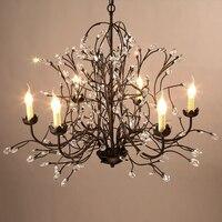 American Style Chandelier Crystal Iron Led Retro Rural Restaurant Bar Room Lamp Pendant Lamp