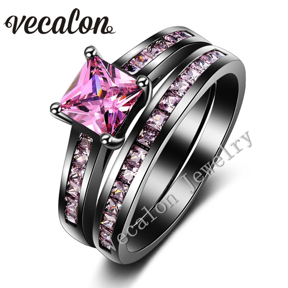 vecalon women wedding band ring set pink stone aaaaa zircon cz 10kt black gold filled engagement - Womens Black Wedding Ring Sets