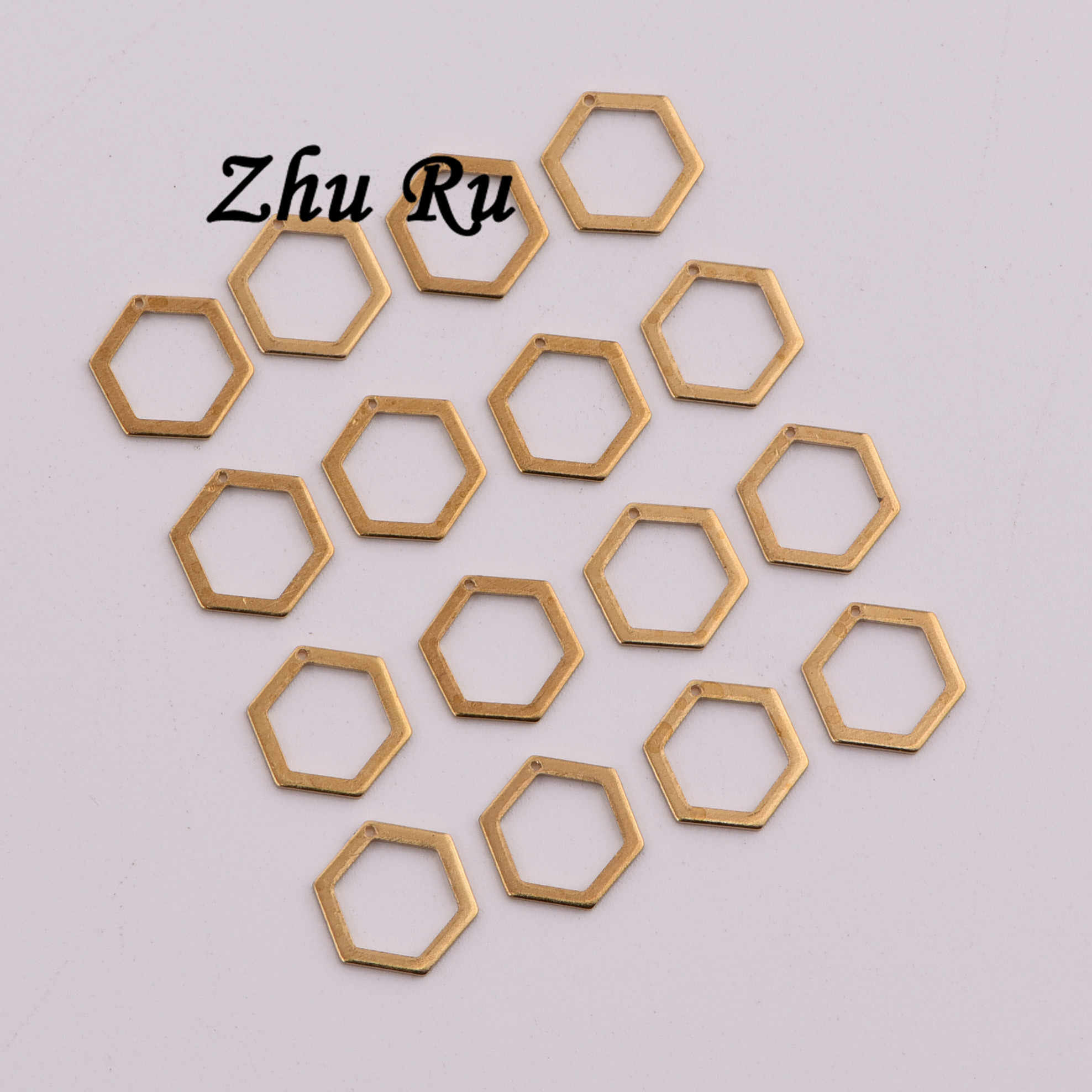 8.5mm 20pcs copper Handmade Retro hexagon ring Six-pointed star screw honeycomb crystal shape Charms For DIY Accessories