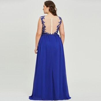Dressv dark royal blue plus size evening dress elegant scoop neck cap sleeves wedding party formal dress a line evening dresses 3