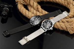 Image 5 - ORKINA Male Wristwatch Skeleton Dial Mechanical Hand wind Clock Mens Wrist Watches Stainless Steel Mesh Band Herren Armbanduhr