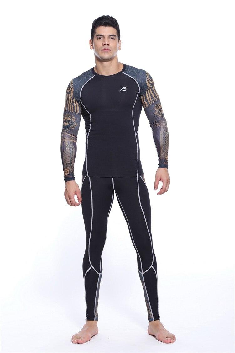 plus size men clothing runnings sets suits mens slim t shirt long sleeve+mens leopard leggings size s-4xl