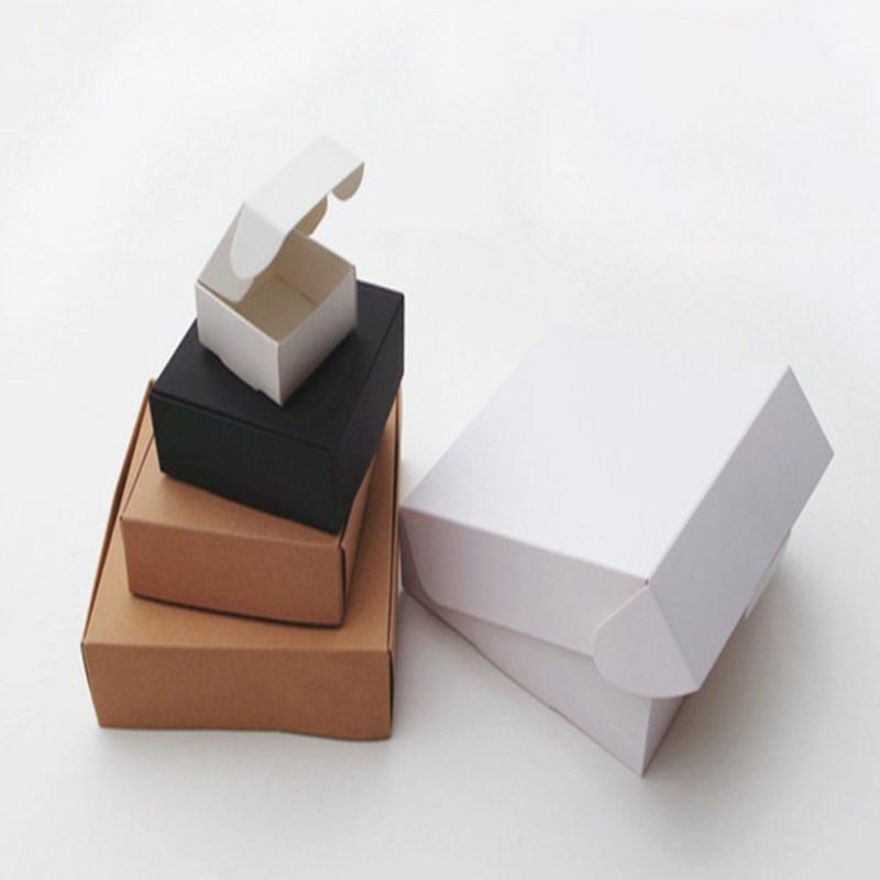 10pcs/lot 12sizes Small Kraft Paper Box,brown Cardboard Handmade Soap Box,white Craft Paper Gift Box,black Packaging Jewelry Box