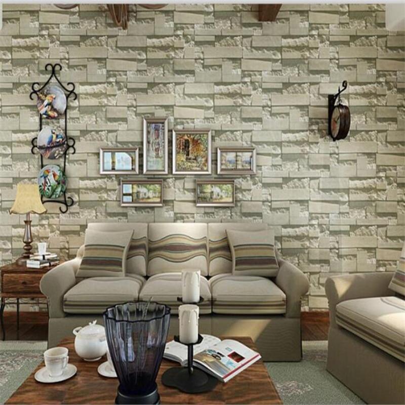 ФОТО Beibehang Luxury stone brick pattern home wallpaper 3d TV background wallpaper three - dimensional living room bedroom