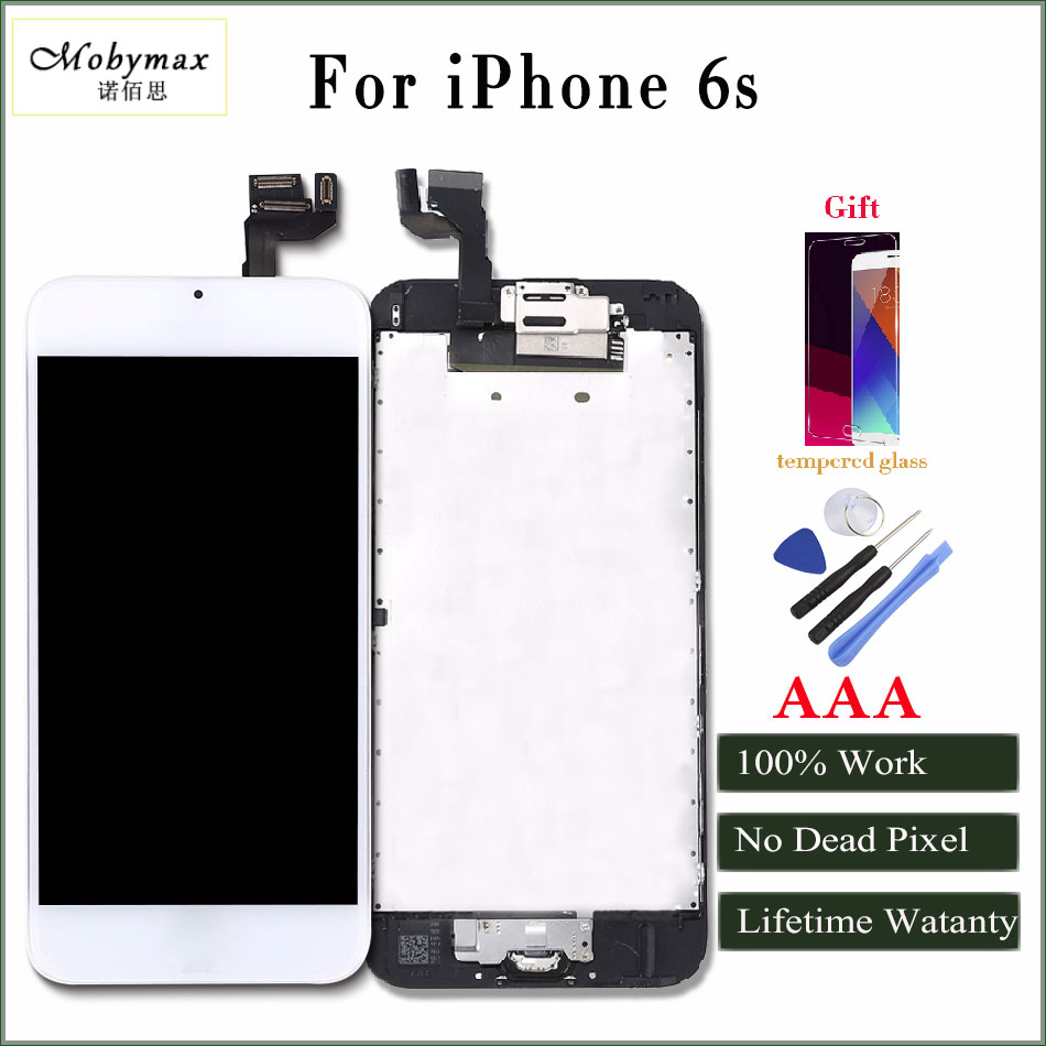 Mobymax AAA Quality LCD For iphone 6 Display Touch Screen Digitizer full Assembly Frame+Front Camera+home button /Tools/Glass