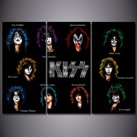 Promotion High Quality HD Printed kiss Band Painting Canvas Print room decor print poster picture canvas Wholesale Drop shipping