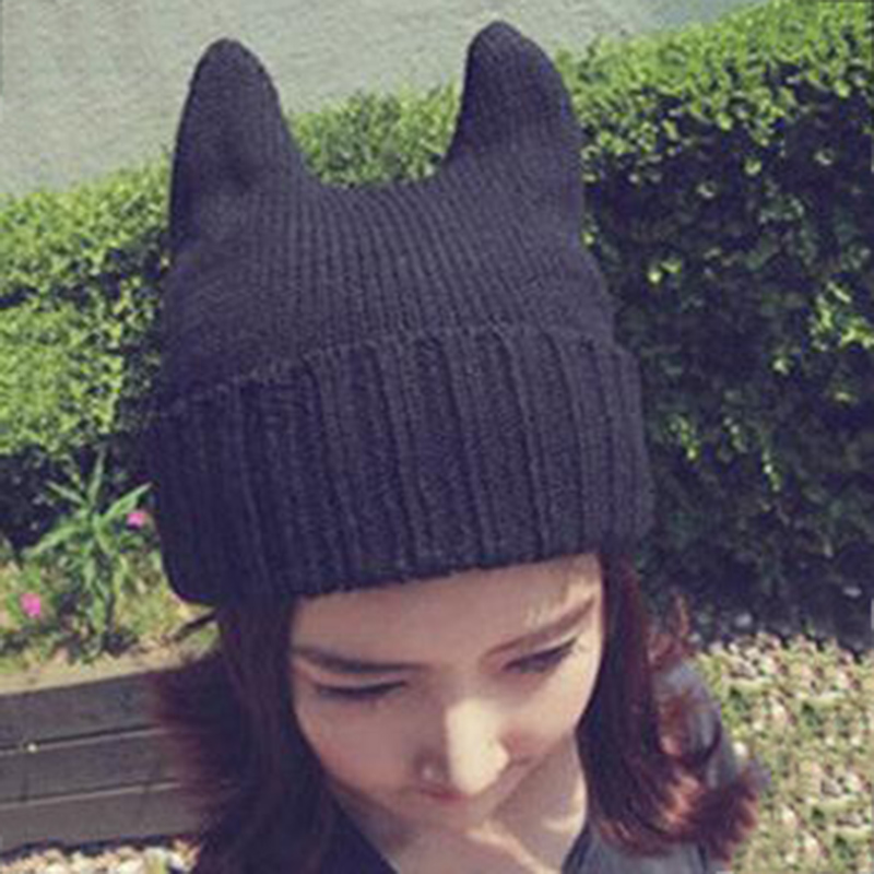 Hot Sale Winter Soft Cute Women Girl Warm Winter Cat Ear Shape Knitted Hat Elastic Beanie Cap Christmas Gifts  Free Shipping new arrivals soft cute women girl warm winter cat ear shape knitted hat elastic beanie cap christmas gift drop
