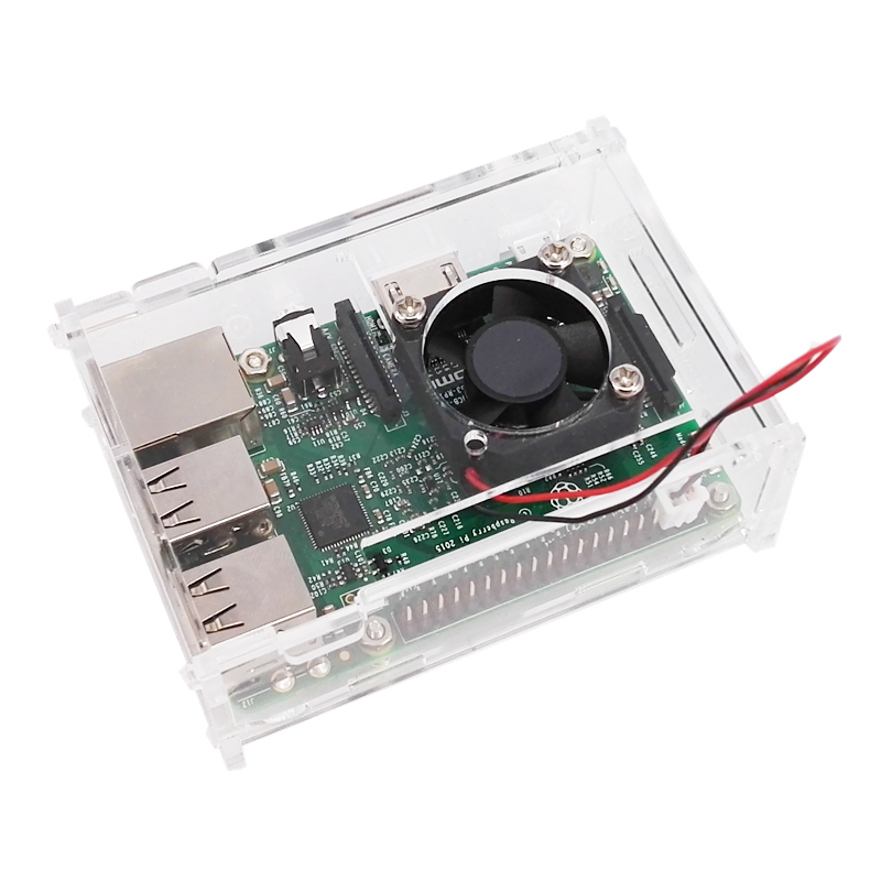 Free Shipping Raspberry PI Case Raspberry Pi B+ Shell With A Small Fan,With A Fixed Screw, Thickened Acrylic Shell, Strong Fan