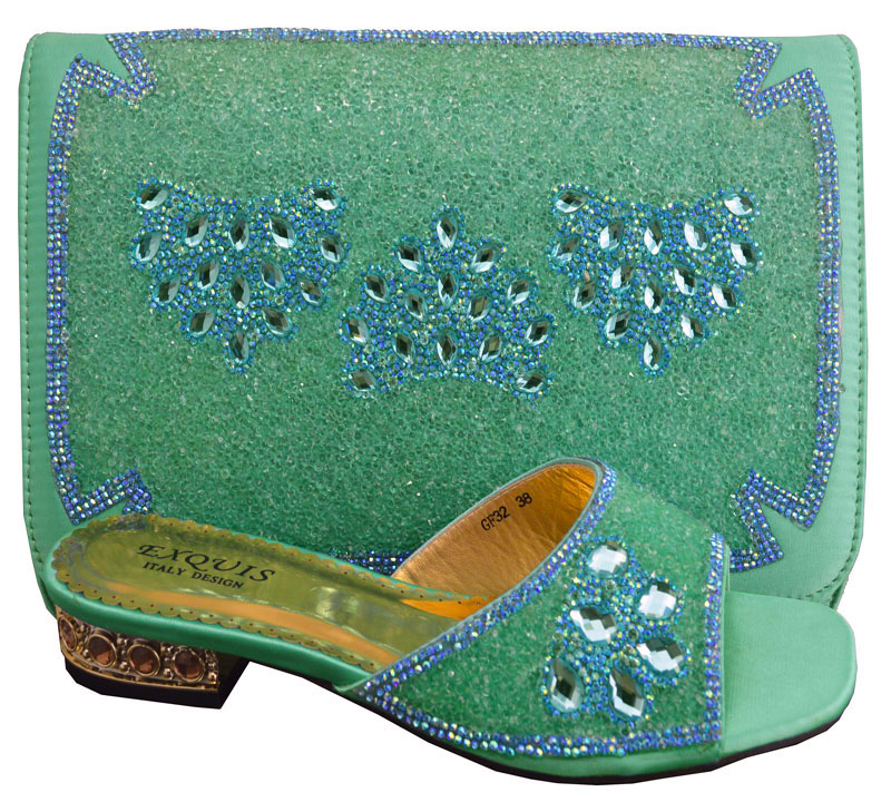 ФОТО Free Shipping By DHL!!!!2015 New arrival Lady african shoes and matching bags GF33 green size 38-43