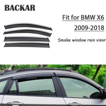 Backar 4pcs Auto Car-Styling Car Windows Rain Wind Sun Shield Deflector Visor Trim For BMW X6 2009-2018 Accessories All Weather