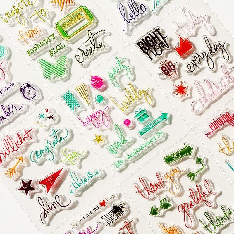 Carta dos desenhos animados cor transparente de silicone selo claro para scrapbooking DIY artesanato decoração selo macio crianças artigos de papelaria