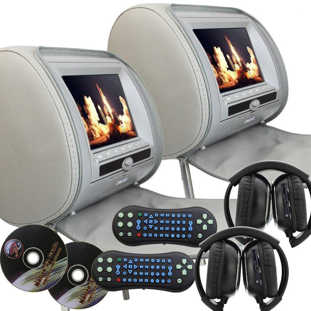 9-дюймовый цифровой дисплей Экран Подушка подголовник dvd-плеер серый монитор двойной Экран автомобиль подголовник видео плеер с из 2 предмет...