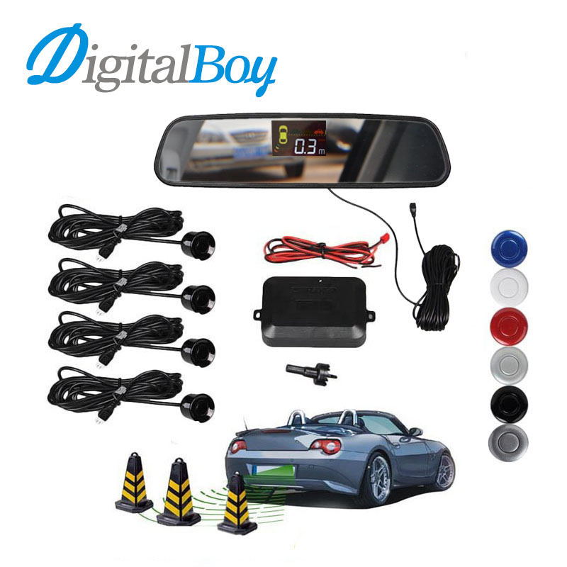 Car Rearview Mirror LCD Auto Parking Sensor Reverse Backup kit Parking Assist System with 4 Sensors Reversing Safety Bi-Bi Alert