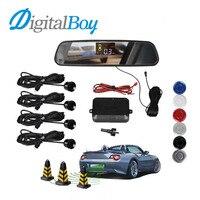 Car Rearview Mirror LCD Auto Parking Sensor Reverse Backup kit Parking Assist System with 4 Sensors Reversing Safety Bi Bi Alert
