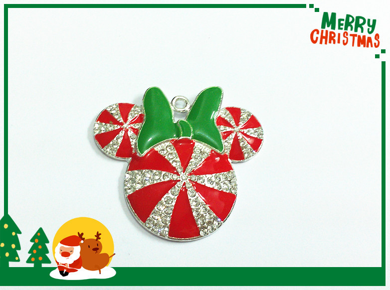 Image 2 - ( Choose Color First ) 41MM 10pcs/lot  Christmas Minnie With Bow Rhinestone Pendants For Necklace-in Pendants from Jewelry & Accessories