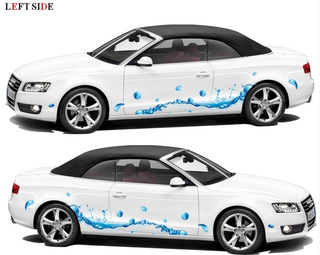 Left side car stickers two designs blue bubble fashion personality both sides waterproof fresh only for