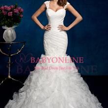 Vestido De Noiva Romantic Cap Sleeve Mermaid Wedding Dress