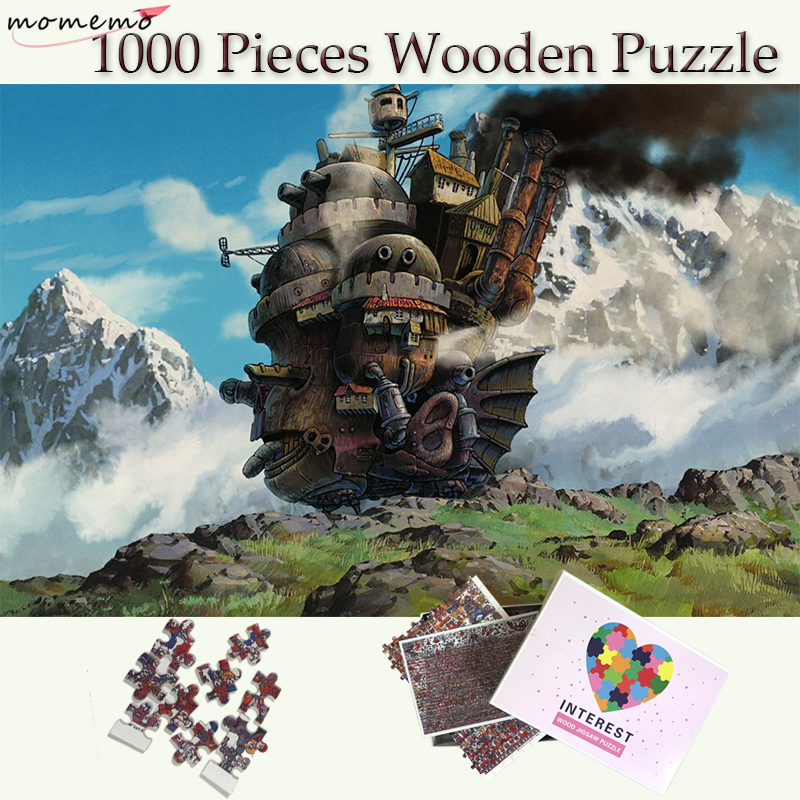 MOMEMO Howl's Moving Castle Wooden Puzzle 1000 Pieces Customized Jigsaw Puzzles Toys Adults Teenagers Kids Cartoon Puzzle Games