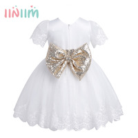 Infantil Baby Girls Embroidered Short Sleeves Sequined Bowknot Girl Dress Princess Pageant Wedding Birthday Party Baby