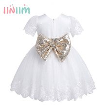 Infantil Baby Girls Embroidered Short Sleeves Sequined Bowknot Girl Dress Princess Pageant Wedding Birthday Party Baby Clothes