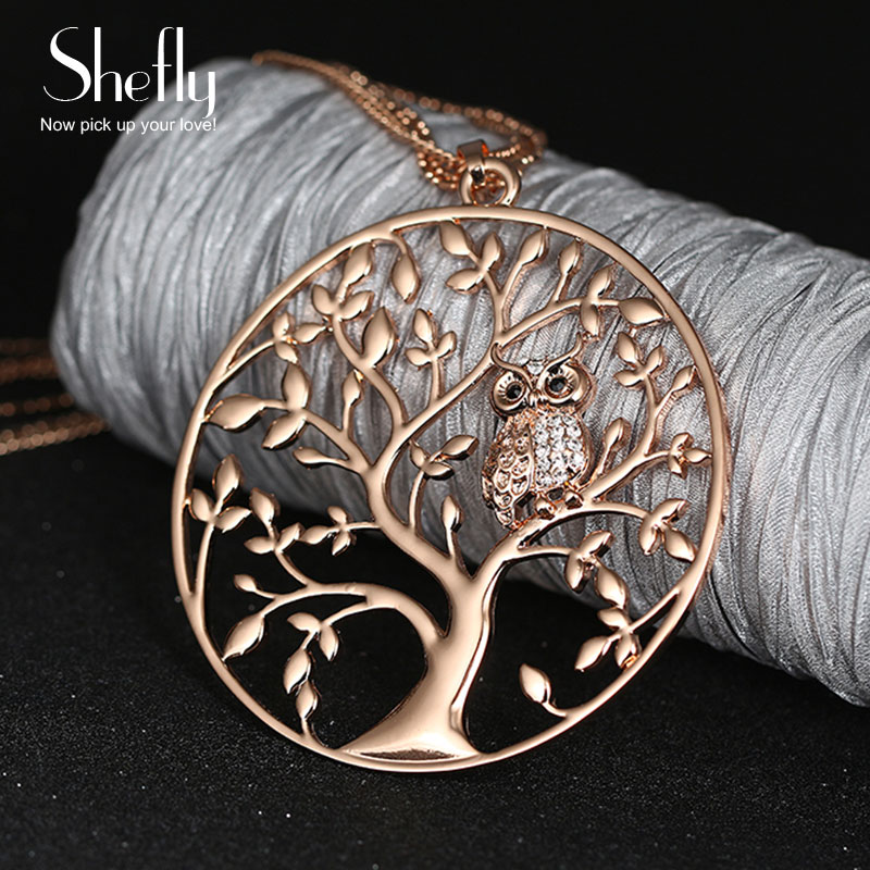 Owl Pendant Necklace Jewelry Accessory Women Fashion 2017 Silver Rose Gold Color Chain Crystal Long Necklaces & Pendants