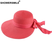 SHOWERSMILE Large Brim Straw Hat Women 12cm Rosered Sun Female Fashion Bowknot Paper UV Protection Summer Beach
