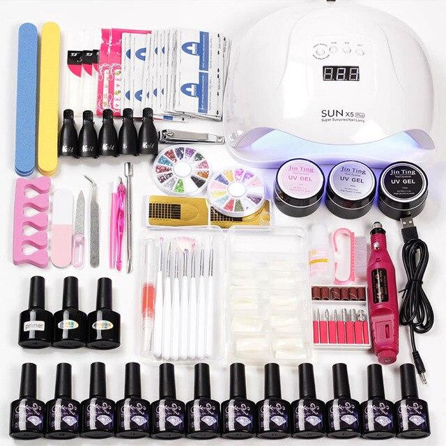 Cor Gel Unha Polonês Verniz Kit de Extensão com 36 12 w/45 w/80 w Led Uv Prego kit lâmpada para Manicure Set Ferramentas Unhas de Acrílico Arte