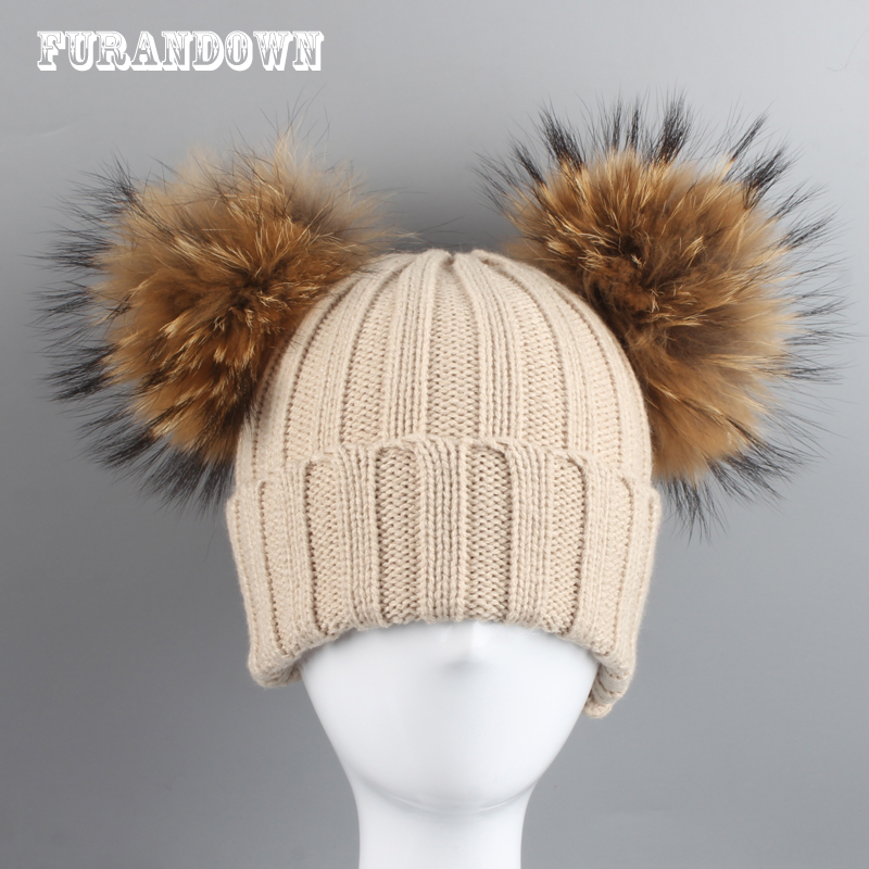 Parent-Child Winter Hats For Kids Real Raccoon Fur Pompom Hat Baby Cotton knitted Cap Boys Girls   Skullies     Beanies