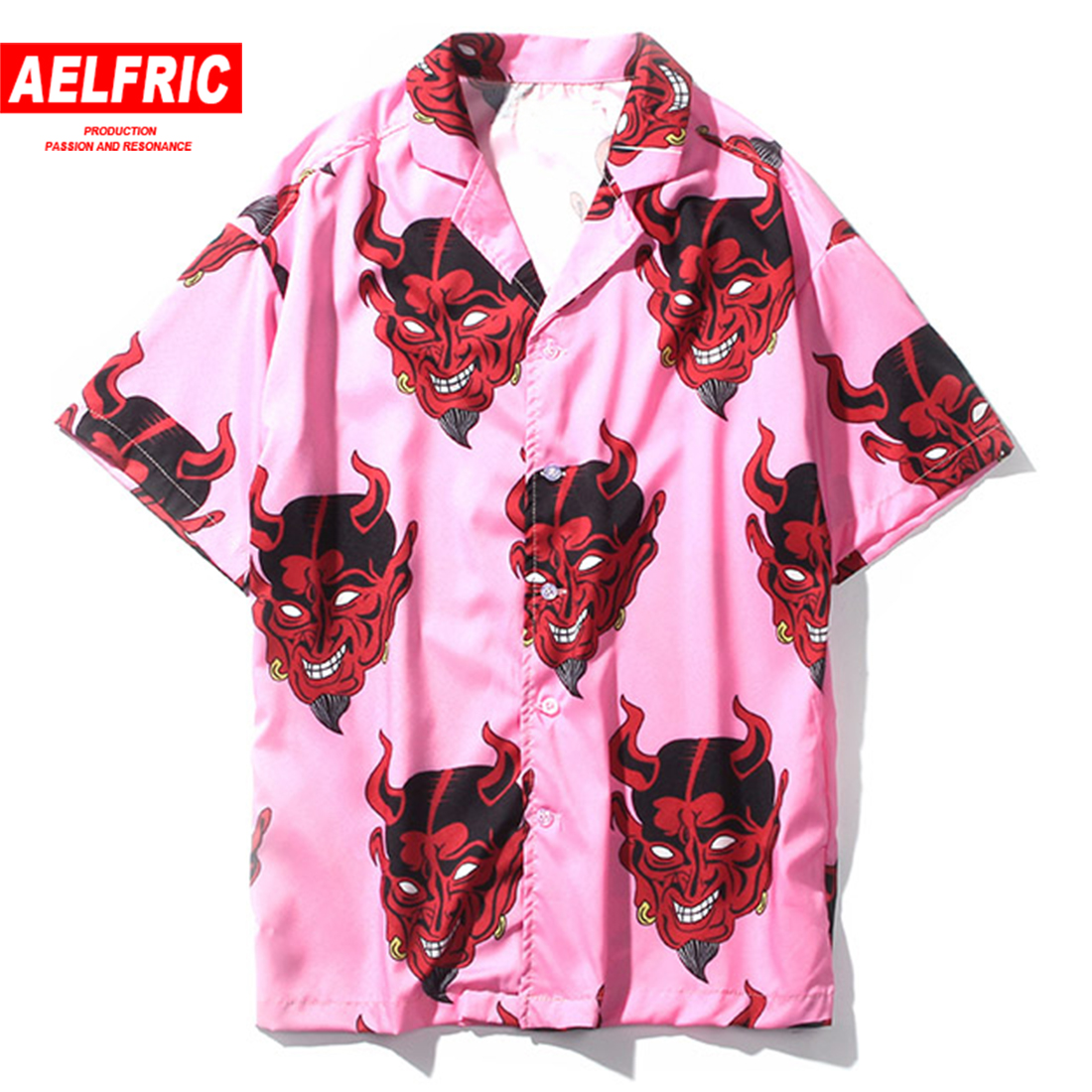 Aelfric Harajuku Demon Print Spring Summer Women   Blouse   Punk Gothic Casual Loose Short Sleeve   Shirt   Tops Femme Hip Hop TZH01