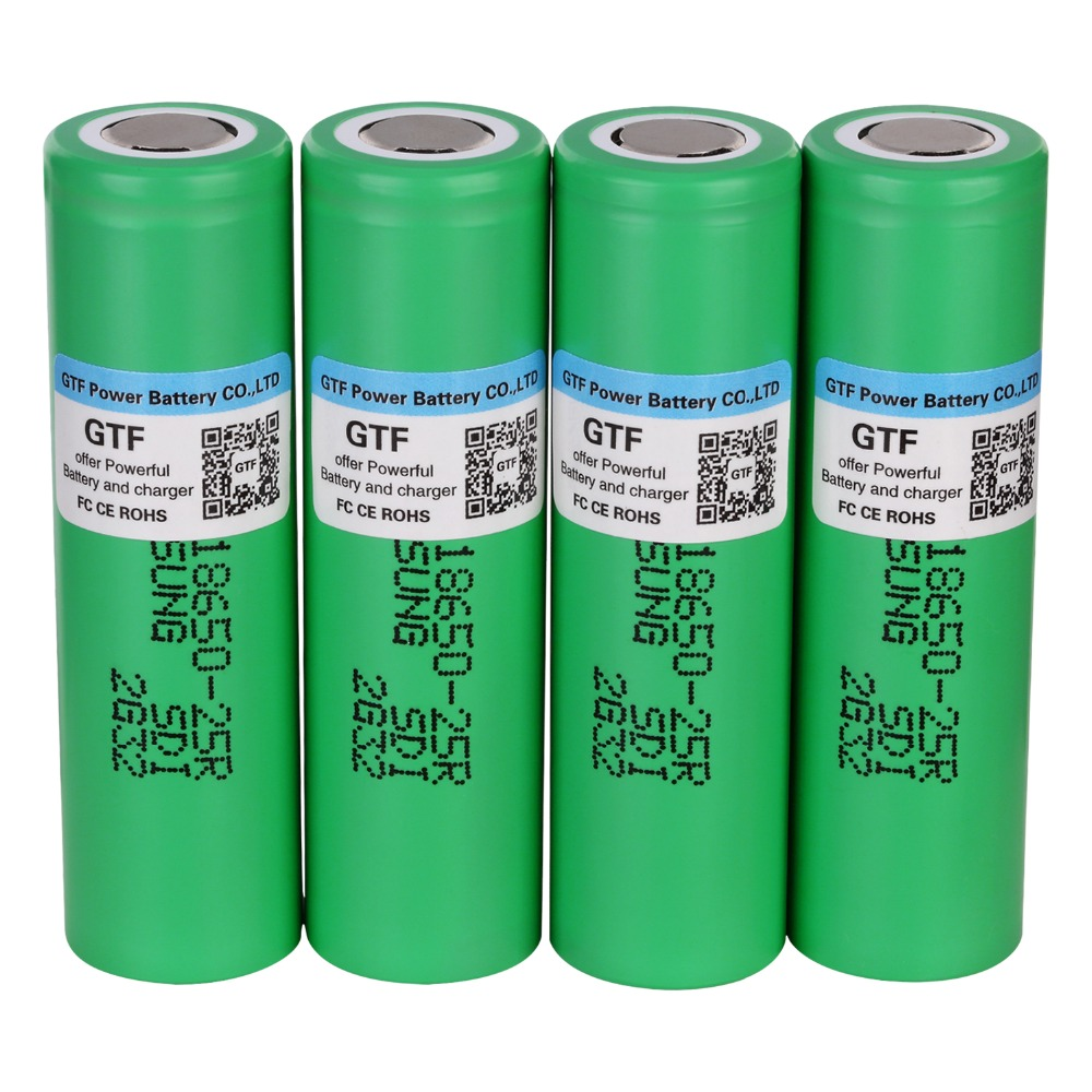 GTF 3.7v 2500mah <font><b>18650</b></font> <font><b>25R</b></font> Battery for <font><b>Samsung</b></font> <font><b>18650</b></font> Lithium Battery INR <font><b>18650</b></font>-<font><b>25R</b></font> 20A Discharge Batteria for E-Cigarette Cells image