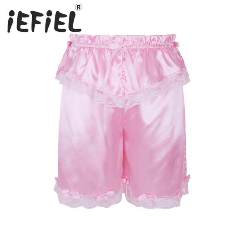 iEFiEL New Arrival Summer Men Fashion Shorts Crossdress Sissy Lingerie Classic Frilly Lace Bowknot Shorts Bloomers Short Pants