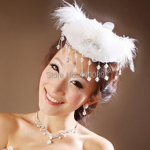Сладкий и прекрасный свадебный свадьба аксессуары, Tocados пункт bodas, Белый перо головной убор, Свадебные шляпки FW23