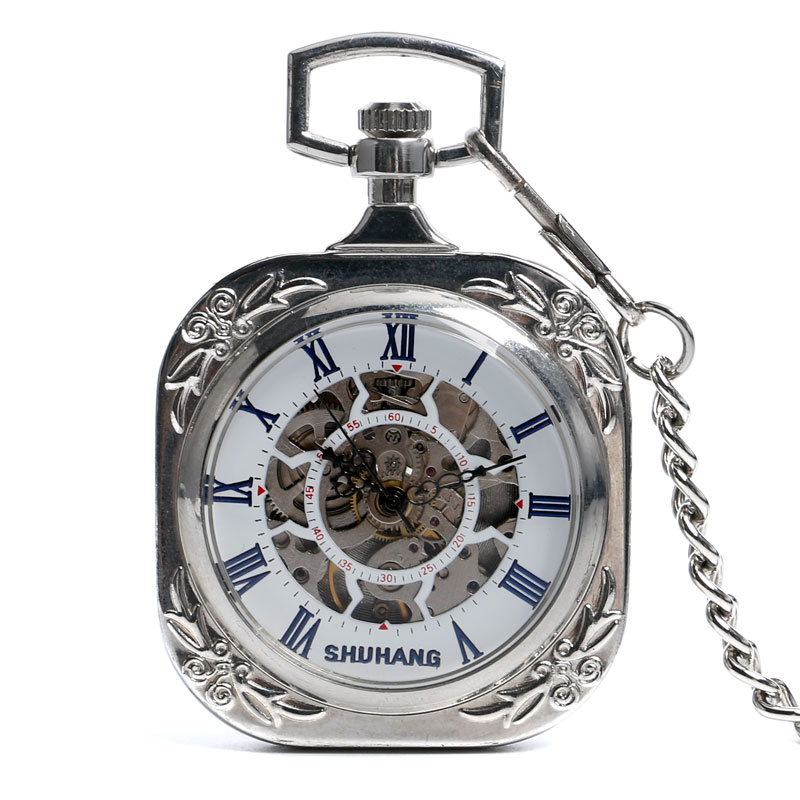 SHUNAHNG Silver Open Face Roman Numbers Mechanical Pocket Watch Hand Wind Fob Watches Men Women Steampunk Pendant With Chain roman numerals skeleton watches steampunk pocket watch with chain 2 sides open case luxury brand mechanical pocket watch
