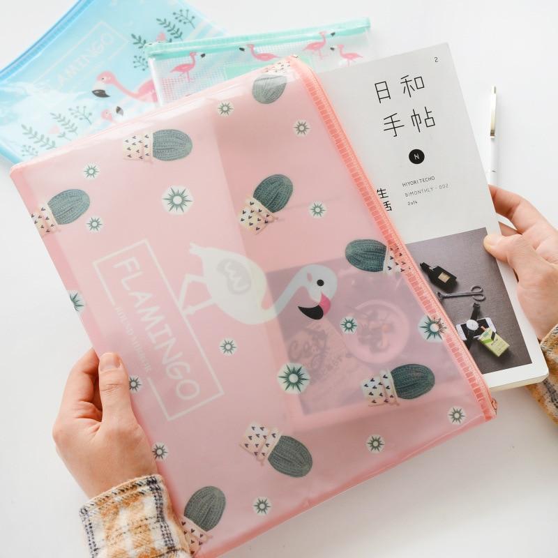 Nice File Folder Cute Flamingo Bird Green Cactus A4 Bag Mesh Document PP Stationery Filing Production