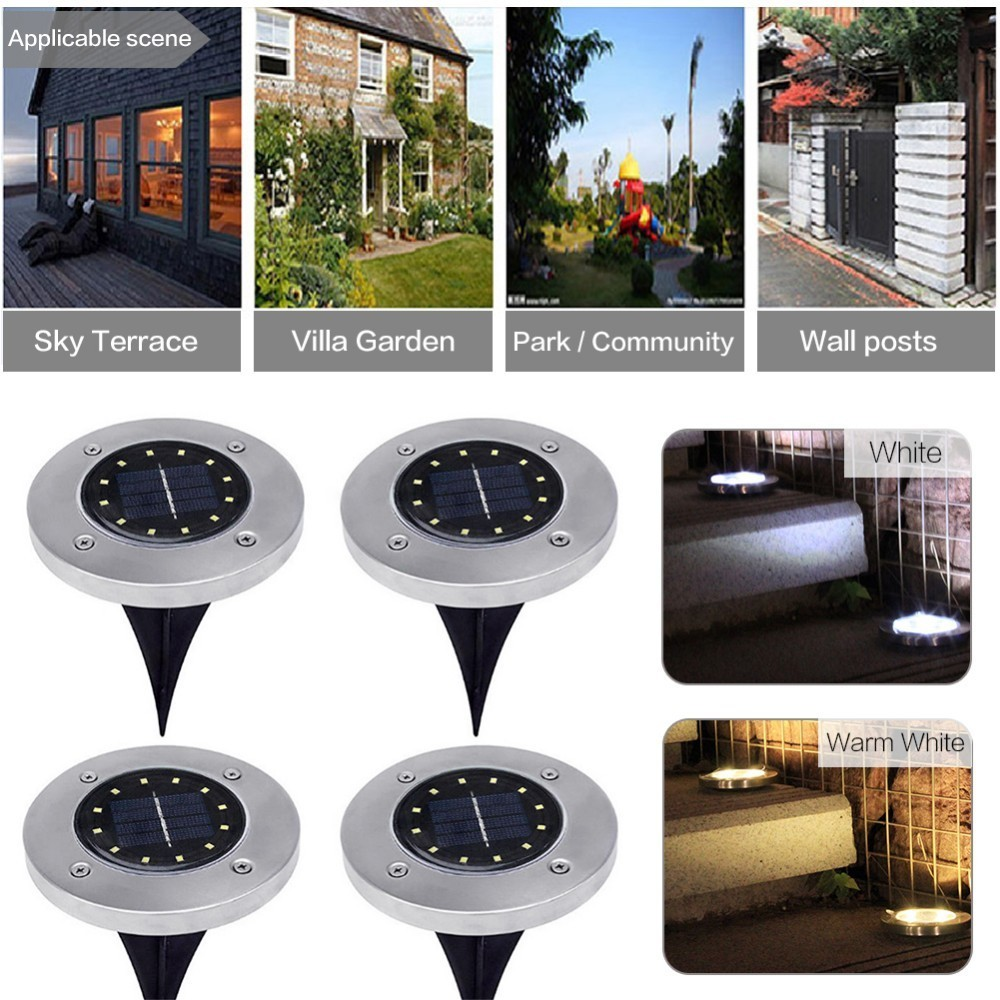 12 LED Solar Power Buried Light Ground Lamp Outdoor Path Way Garden Decoration
