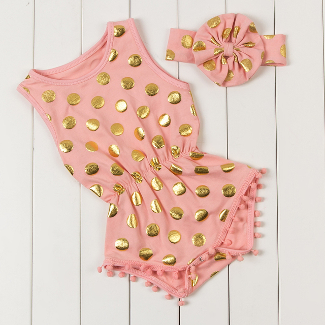 c18c1f27a33 Baby Girl Clothes With Headband Polka Dot Sparkle Print Summer Baby Romper  Newborn Jumpsuits   Rompers Baby Costumes