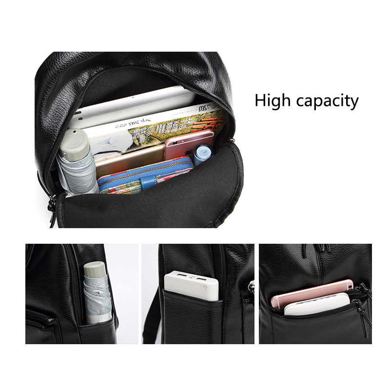 Ankareeda New Travel Backpack Korean Women Backpack Leisure Student Schoolbag Soft PU Leather Women Bag High Quality in Backpacks from Luggage Bags